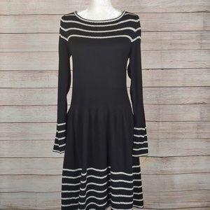 Anthro Eliza J Stripe Fit & Flare Sweater Dress